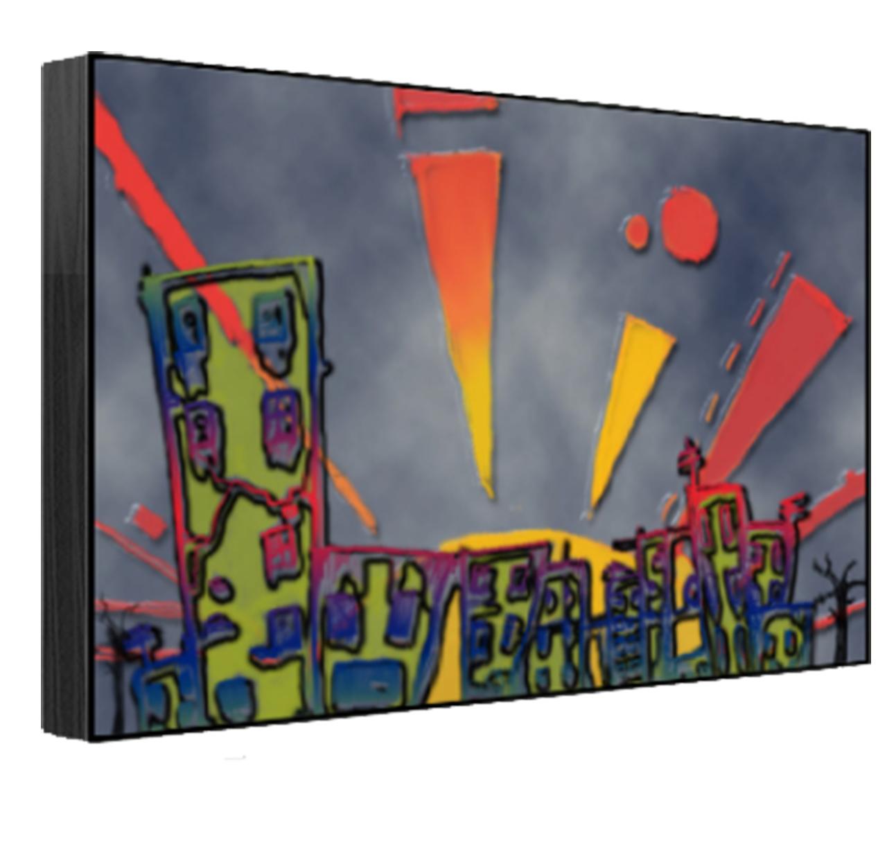 Superstar Universe, LLC Titled Sunset Over the City Print 1/100 12 X 18 Jet Black Canvas by Superstar Universe, LLC