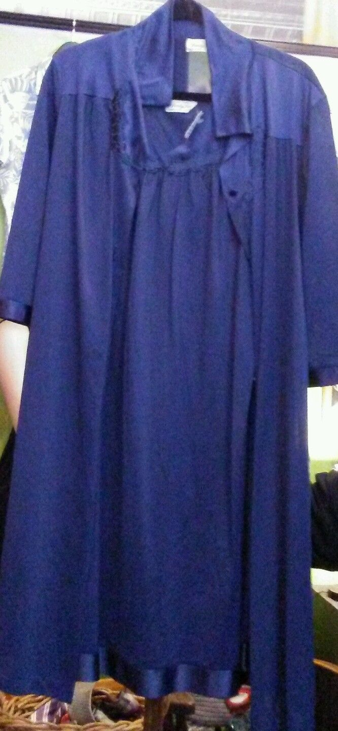 Vintage Vanity Fair Drk Blue Nightgown Robe Set Sz M Knee Length With FREE SHIPPING