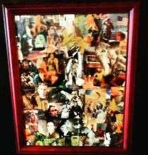 Superstar Universe, LLC  Handmade Retro 1990s Signed Red Framed Original Collage Mixed Media Poster Art WITH FREE SHIPPING