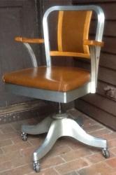 Vintage Shaw Walker Aluminum/ Wood Mid Century Propeller Desk Chair