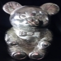 Superstar Universe, LLC RARE Vintage Metal Silver Plated Teddy Bear Money Bank