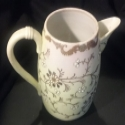 Superstar Universe, LLC ANTIQUE GOLD AND WHITE OVOID PITCHER 1800s AMERICANA Folk Art