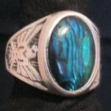 Superstar Universe, LLC Vintage Sterling SILVER Blue Paua Men's Ring WITH FREE SHIPPING